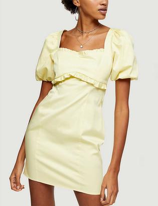 Topshop Ruffled stretch-cotton poplin mini dress