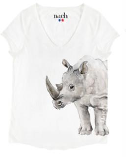 Nach White Rhinoceros T Shirt - large