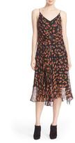 Diane von Furstenberg &Benita& Embellished Print Silk Surplice Slipdress