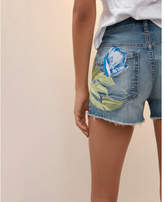 Express mid rise vintage embroidered raw denim shorts