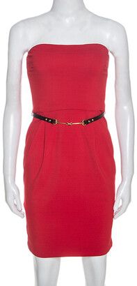 Gucci Red Crepe Belted Strapless Dress XS