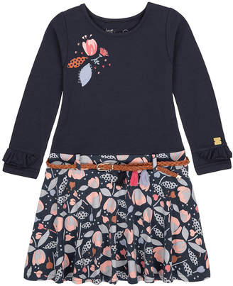 Deux Par Deux Navy Blue & Floral Print Dress