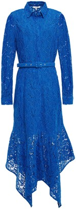 Ganni Everdale Asymmetric Belted Corded Lace Midi Dress