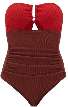 Self-Portrait U-bar Ribbed Cutout Swimsuit - Womens - Burgundy Multi