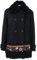 RED Valentino embroidered hem double-breasted coat