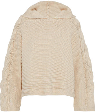 Alice + Olivia Oversized Cable-knit Hooded Sweater