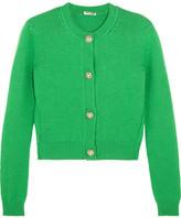 Miu Miu Cropped Embellished Cashmere Cardigan - Green