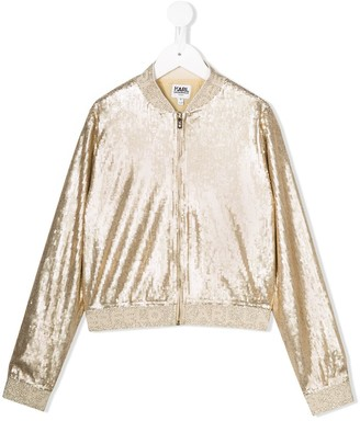 Karl Lagerfeld Paris Sequin Embroidered Bomber Jacket