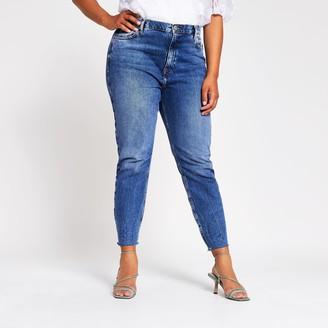 River Island Womens Plus Blue Brooke high rise slim jeans