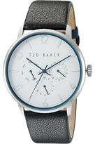 Ted Baker Classic Collection Custom Multifunction Sub-Eye w/ Contrast Detail Date Leather Strap Watch