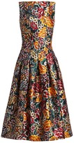 Oscar de la Renta Multi Floral Jacquard Sleeveless A-Line Dress
