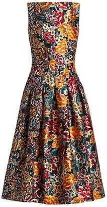Oscar de la Renta Multi Floral Jacquard Sleeveless A-Line Dress