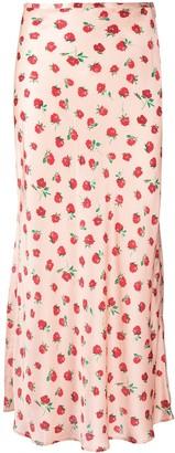 Rixo Floral-Print Silk Maxi Skirt