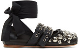 Miu Miu Black Studded Double Buckle Ballerina Flats