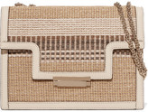 AERIN Leather-trimmed Striped Straw Shoulder Bag - Beige