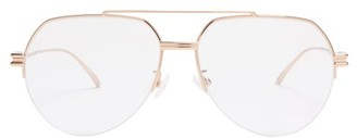 Bottega Veneta Ridged Metal Aviator Glasses - Gold