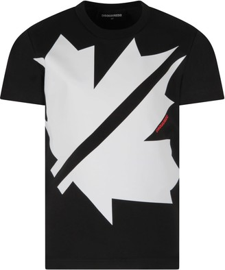 DSQUARED2 Black T-shirt For Boy With Red Logo