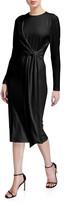 Alice + Olivia Delora Long-Sleeve Tie-Waist Cocktail Dress