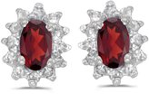 Direct-Jewelry 14k White Gold Oval Garnet And Diamond Earrings