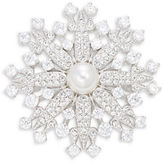 Nadri Crystal Pave and Faux Pearl Snowflake Pin