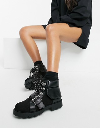 ASOS DESIGN Angelo lace-up hiker boots in black