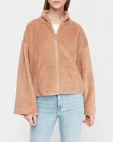 Express Cozy Bell Sleeve Full Zip Fleece Sweatshirt