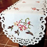 Doily Boutique Table Runner Embroidered with Hummingbirds on Fabric, Size 70 x 15 inches