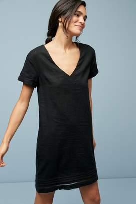 Next Womens Black Linen Blend T-Shirt Dress - Black