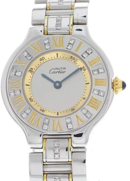 Cartier Must 21 1330 18K Yellow Gold / Stainless Steel with Siver Dial 28mm Womens Watch