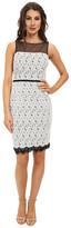 Maggy London Scroll Dot Lace Mixed Novelty Sheath Dress
