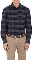 Barneys New York Men's Plaid Cotton Shirt-BURGUNDY