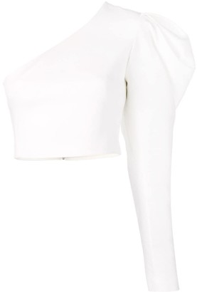 David Koma one shoulder gigot cropped blouse