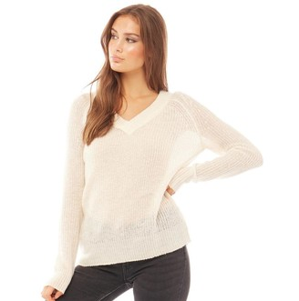 Brave Soul Womens Max V Neck Knitted Jumper Cream