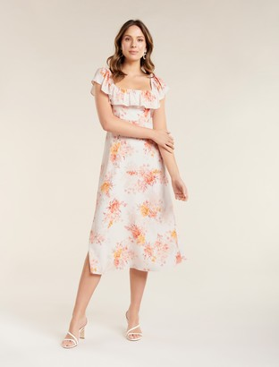 Forever New Ruby Ruffle Square-Neck Midi Dress - Canyon Sunset Floral - 10