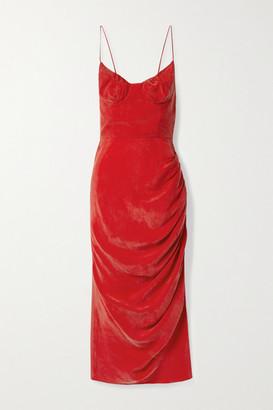 ALEKSANDRE AKHALKATSISHVILI Ruched Washed-cupro Midi Dress - Red