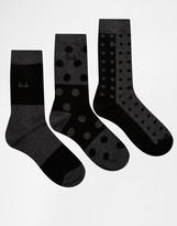 Pringle Polkadot Socks In 3 Pack - Black