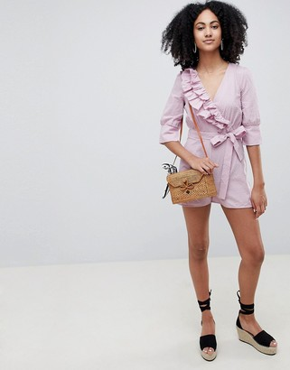 Lost Ink Wrap Front Playsuit With Tie Waist In Ditsy Spot Print-Pink