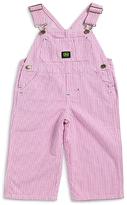 John Deere Pink & White Stripe Logo Overalls - Infant, Toddler & Girls