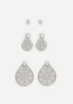 Bebe Stud & Filigree Earring Set