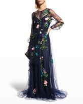 Thumbnail for your product : Monique Lhuillier Embroidered Puff-Sleeve Tulle Gown