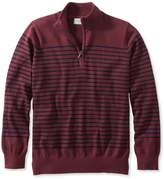 L.L. Bean L.L.Bean Cotton/Cashmere Sweater, Quarter-Zip Stripe