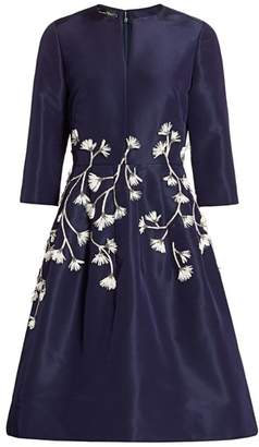 Oscar de la Renta Floral Embroidered Fit-&-Flare Dress