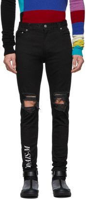 Christian Dada Black Damaged Logo Jeans