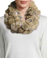 Adrienne Landau Rabbit Fur Pompom Infinity Scarf, Goma Brown