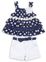 Little Lass Little Girl's Two-Piece Printed Ruffle Top and Shorts Set