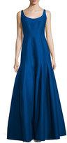 Halston Tulip-Skirt Sleeveless Gown, Cobalt