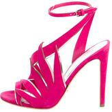 Sergio Rossi Suede Laser Cut Sandals