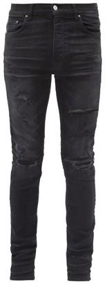 Amiri Thrasher Plus Distressed Slim-leg Jeans - Black