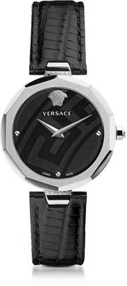 Versace Idyia Decagonal Black and Silver Women's Watch w/Greek Engraving