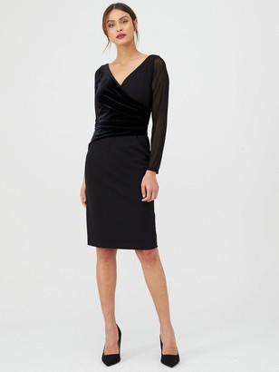 Gina Bacconi Velvet and Chiffon Long Sleeve Dress - Black